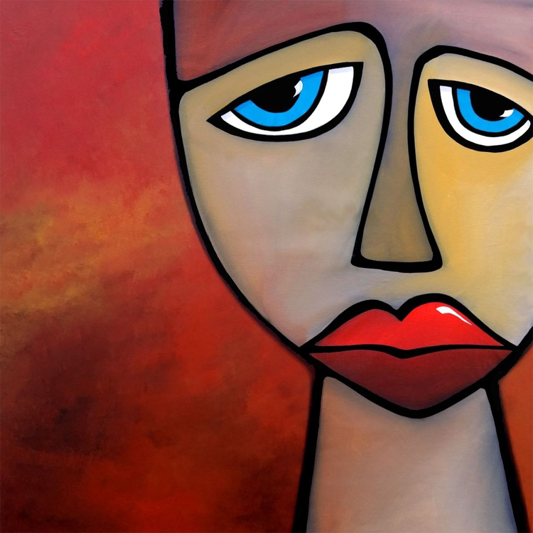Abstract art painting pop face Modern Home Decor Canvas Wall Art by Fidostudio - Image 0