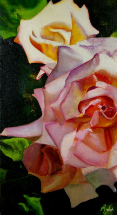 Pink Roses - (Realistic Still Life One of a Kind Oil Painting on Canvas) - Image 0