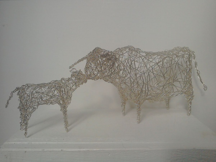 """""""Mother & Child"""" - Silver Cow & Calf - Image 0"""