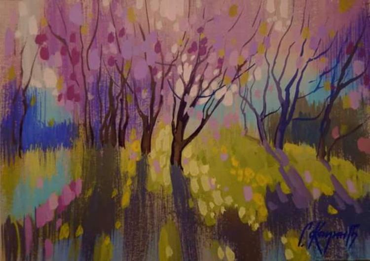 Spring Rays, original painting 30x21 cm - Image 0