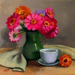 """Still life with summer flowers"" by Lyubov Rasic"