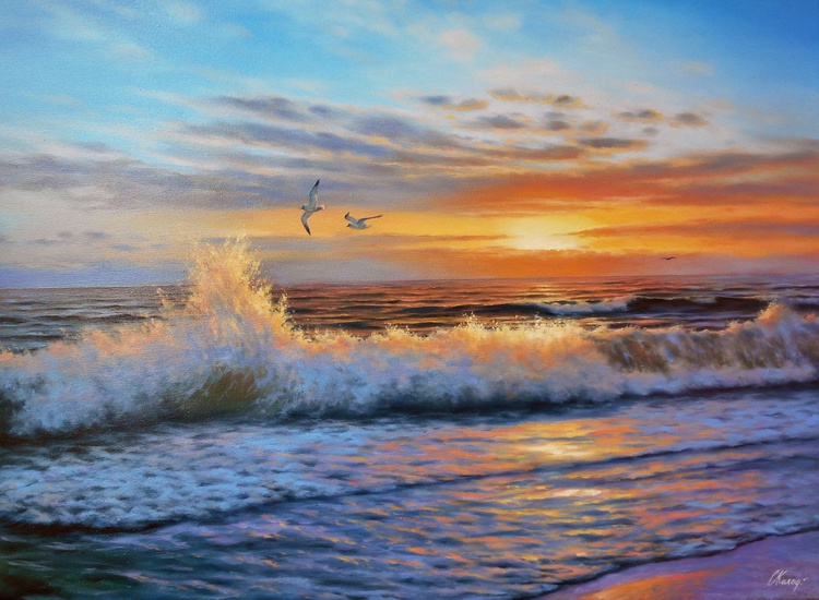 Sunset/Original oil on canvas/Free Shipping - Image 0