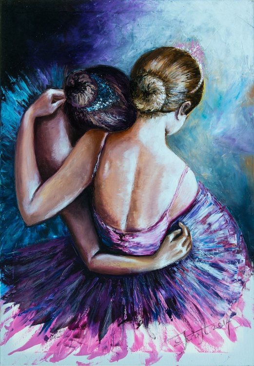 """Girlfriends"",Original oil painting on canvas 70x100x2 cm - Image 0"