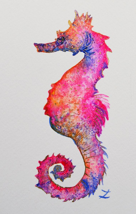 Magical Seahorses. Set of 4 paintings - Image 0