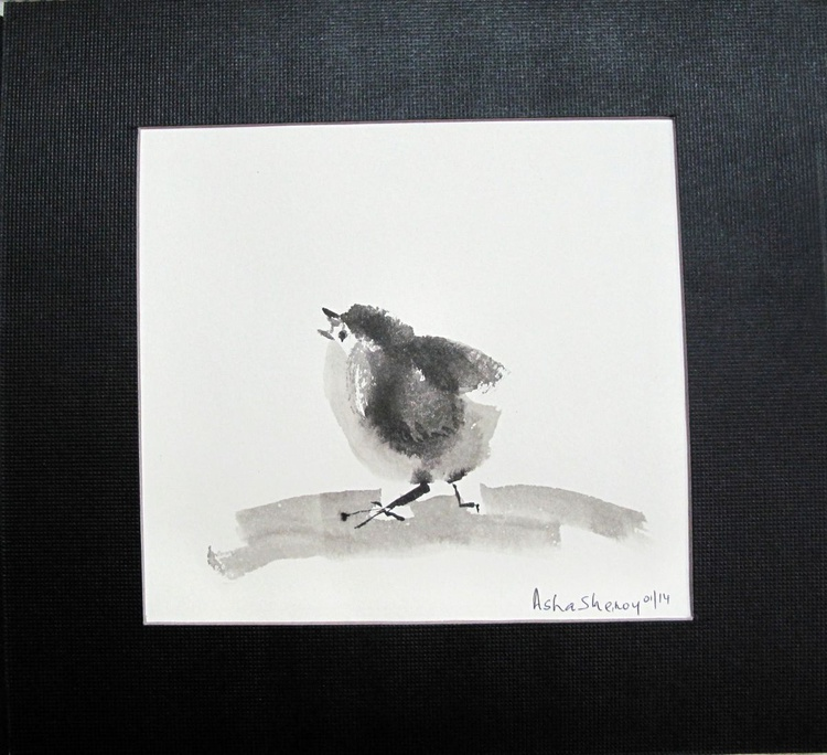 Cute Chick 3- Chinese ink painting - Image 0
