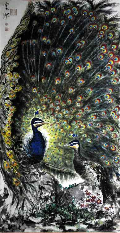 Chinese watercolour peacock paining-41 -