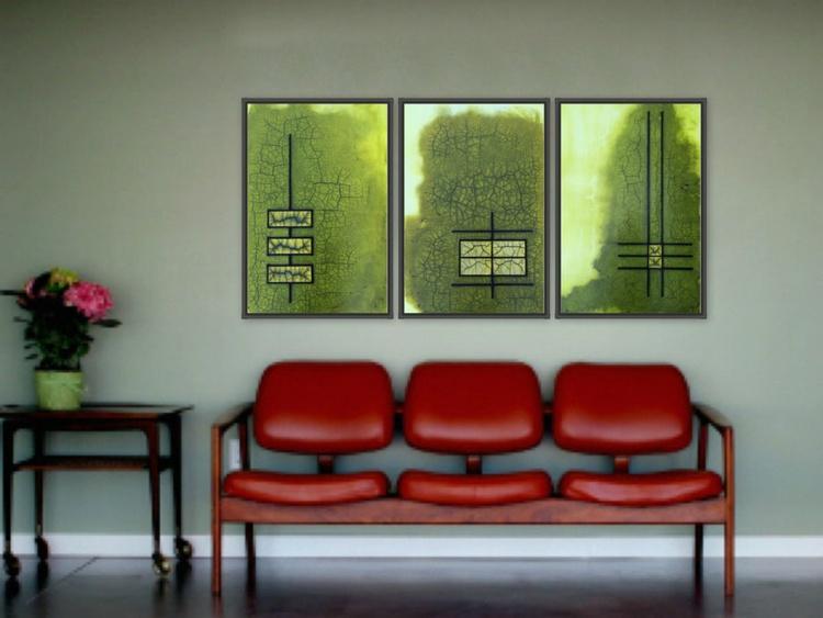 Raku Green Gold Triptych - Image 0