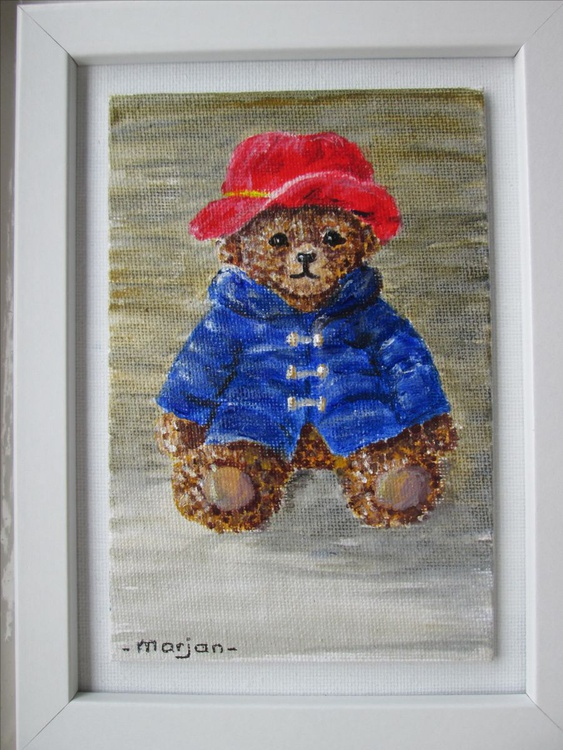 """""""A LOVELY BEAR """", Paddington Bear's friend, Baby gift Children gift, acrylic 4x6inch painting floating in a 6x8x075inch white frame - Image 0"""