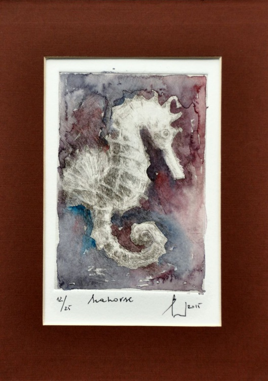 SEAHORSE etching and finishing touch of watercolor - Image 0
