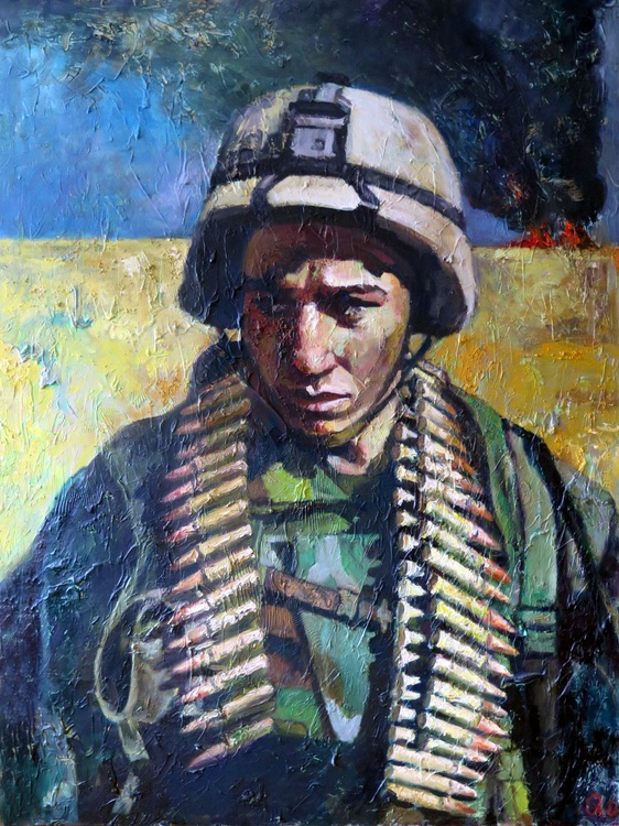 "Large Oil Painting ""Disgust""-Contemporary,Military - Image 0"