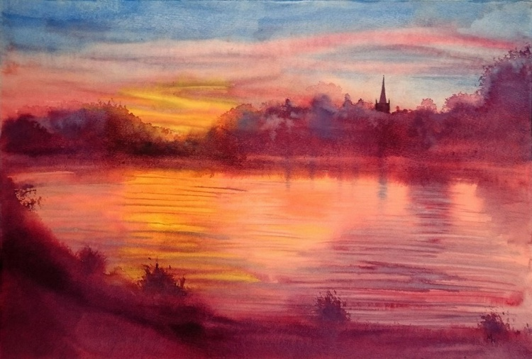 Sunset over the Thames at Lechlade - Image 0