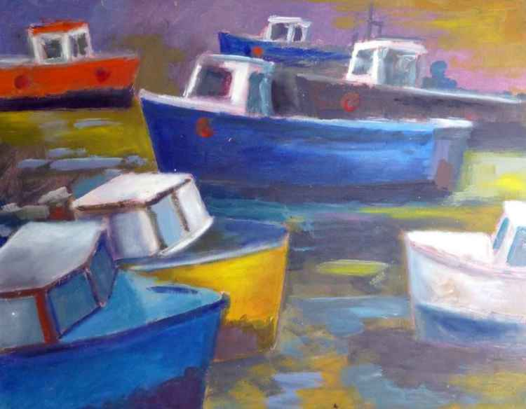 St Ives harbour boats.