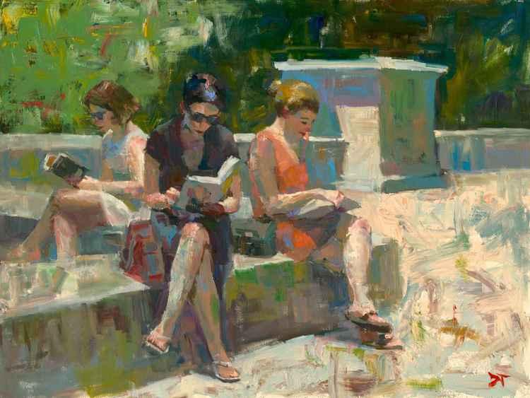 Three Figures Reading in the Sun -