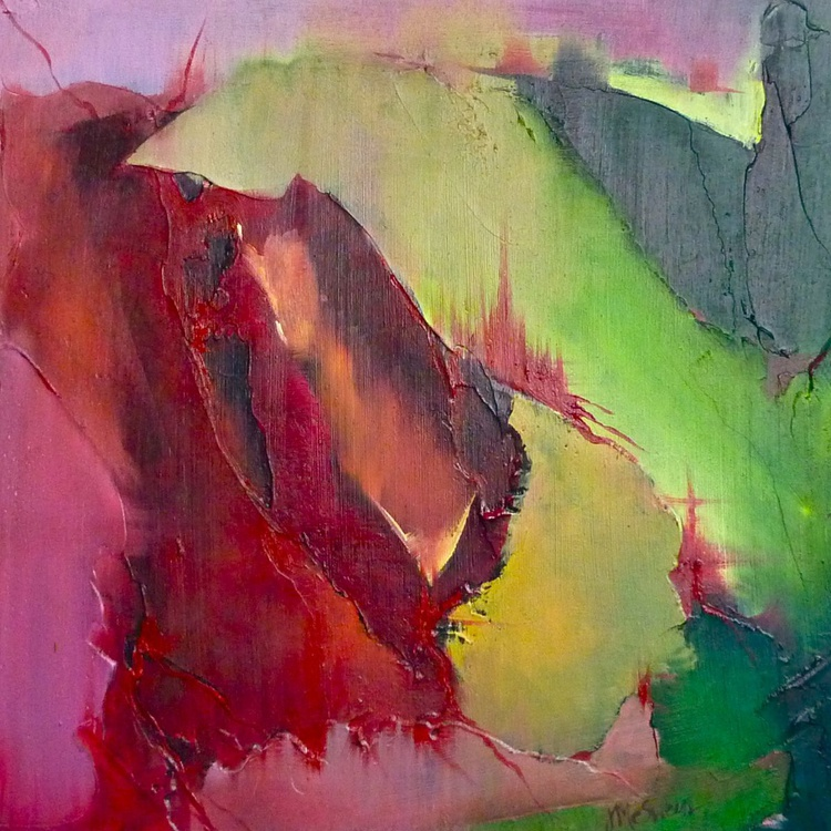 Grieve Abstract Oil Painting in Vivid Crimson, Hot Pink, and Lime Green  Captures Rawness and Depth of Emotion - Image 0