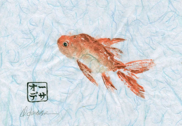 Orange Goldfish Gyotaku (Fish Rubbing) - Image 0