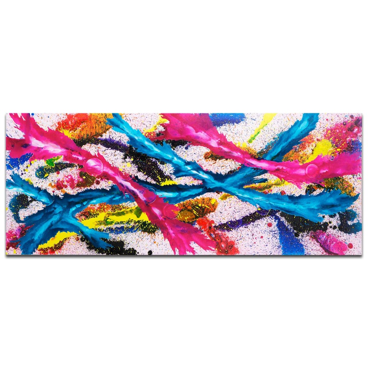 Mendo Vasilevski 'Color Splash' Contemporary Metal Wall Art Giclee - Image 0