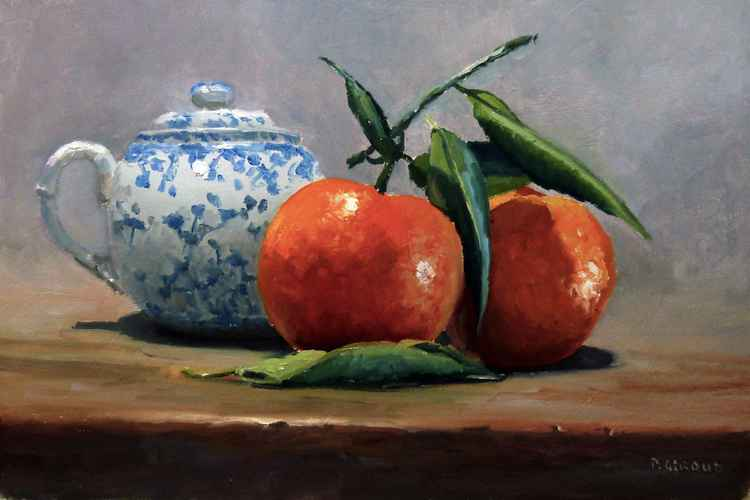 Two Clementines and a Small Teapot -