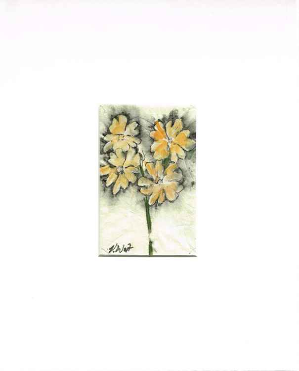 Primula - spring flower - original watercolour and ink painting -