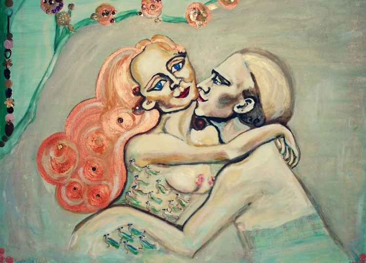 Lovers- An original art work, oil on canvas with application on by Marina -