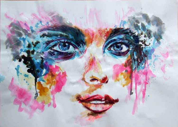 Original Painting Lady with Blue Eyes -