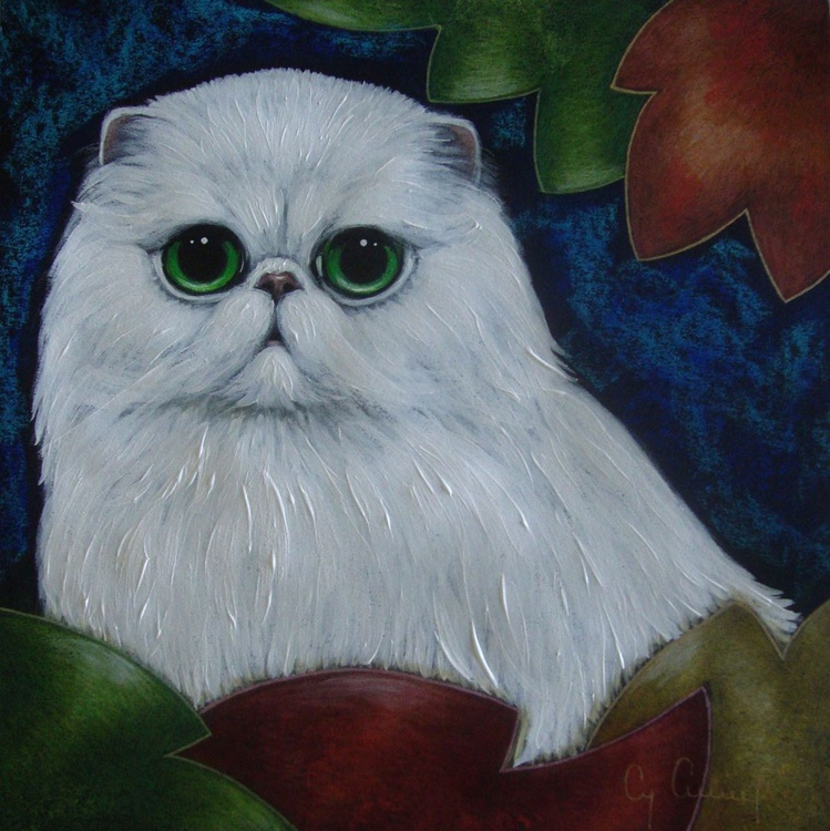 "WHITE PERSIAN CAT & AUTUMN LEAVES 9"" X 9"" - Image 0"