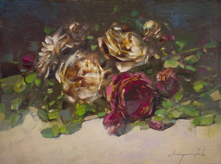 Roses Handmade oil Painting  One of a kind Signed with Certificate of Authenticity - Image 0