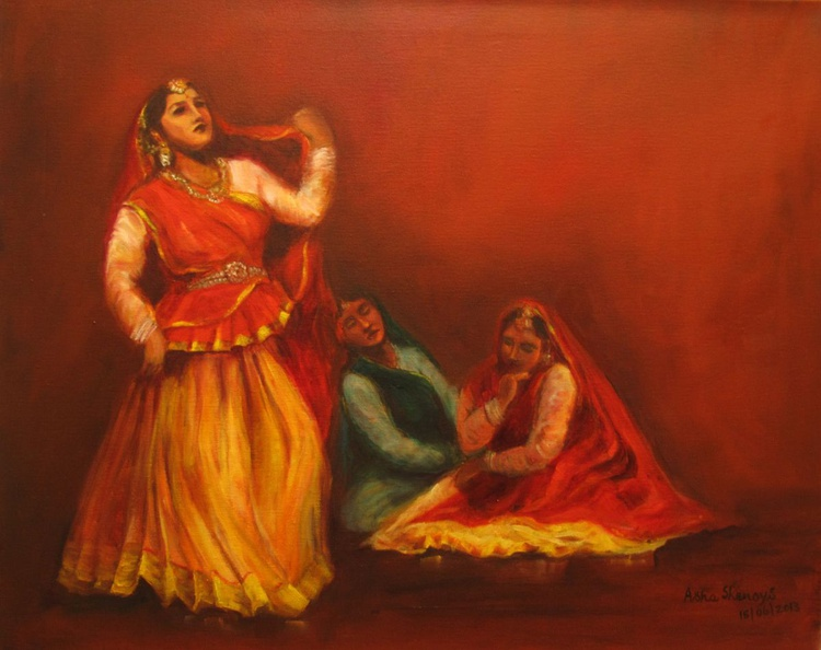 Gopis searching for Krishna (First of the Series of 8 paintings) - Image 0
