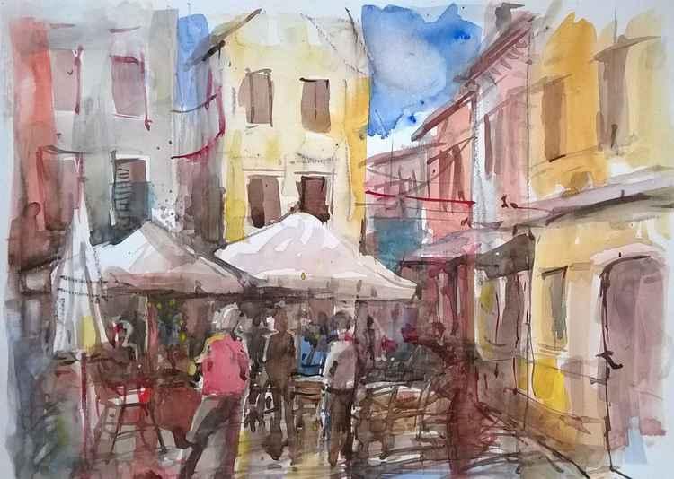 Italian market place.