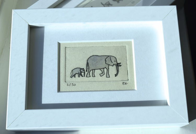 Elephants - small framed print - Image 0