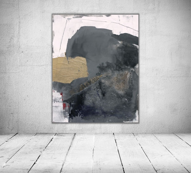 Lost places #2   large mixed media abstract   100x80cm   grey white black - Image 0