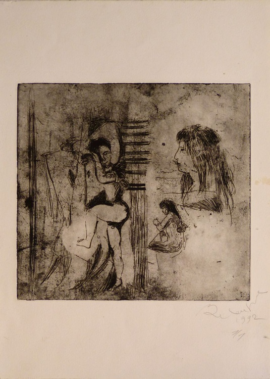 Surrealist sketch, engraving from copper plate 31x43 cm - Image 0