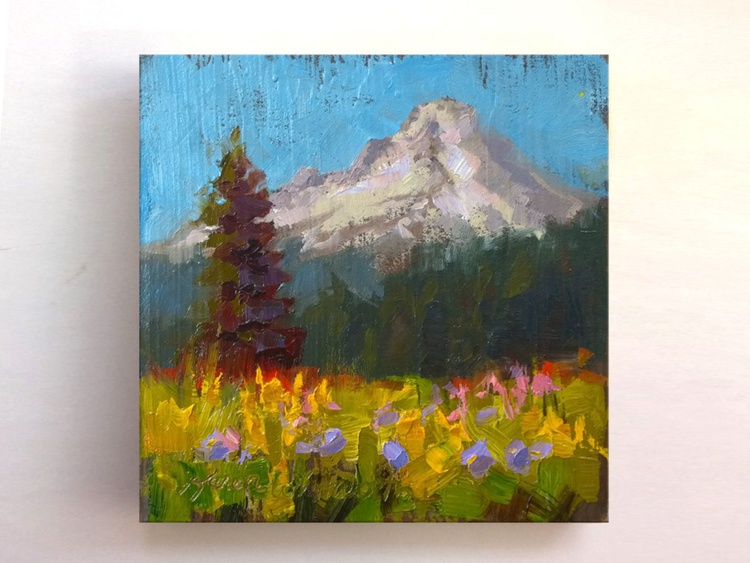 Mt Hood Meadow - Square - Plein Air Oil Painting - Image 0