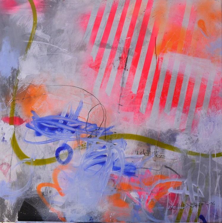 Wonderland #2   square abstract   white grey orange pink green blue   Work No. 2016.43 - Image 0
