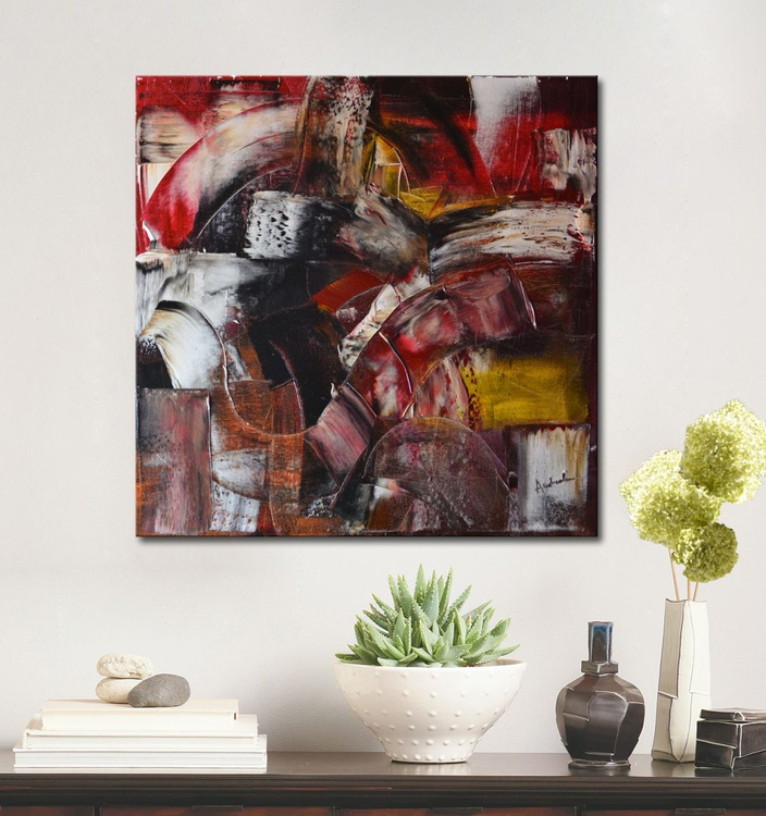 Structures - Abstract painting, red and brown painting - Image 0