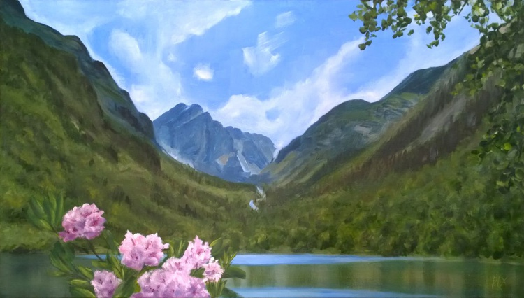 Highland lake, linen canvas Gallery Quality artwork - Image 0