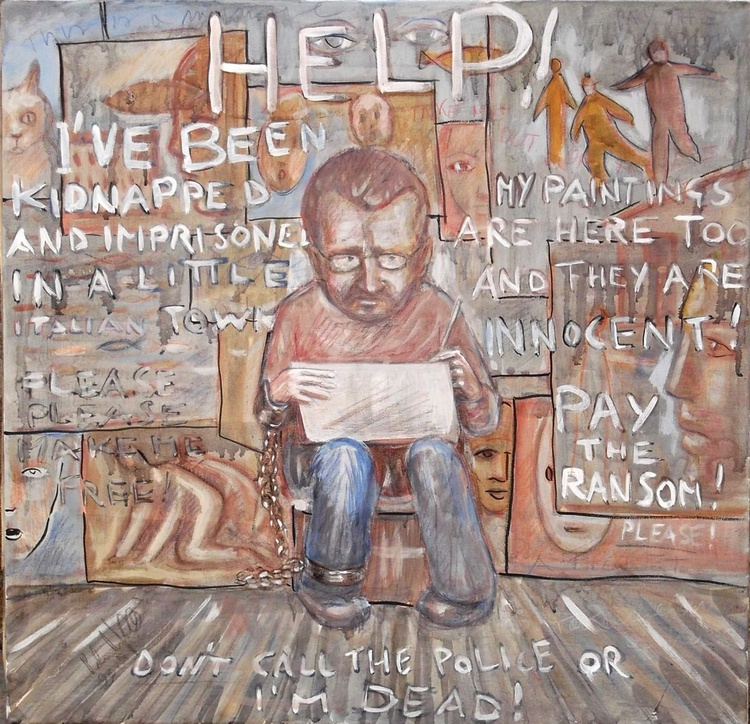 Message on a canvas - Free a kidnapped painter! - Image 0