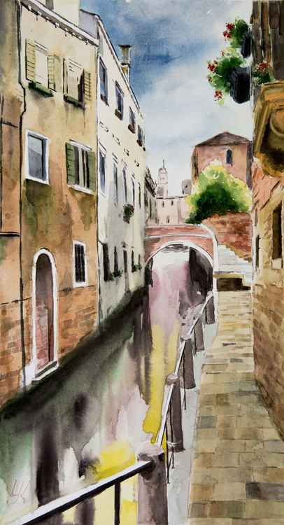 """Venice, Veneto"", original watercolour painting, 11.2""x20""(28x50cm)"