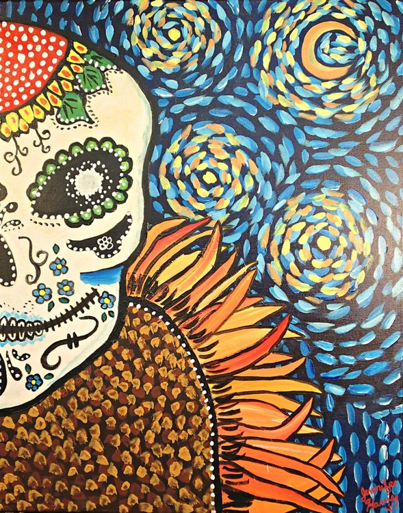 Van Gogh Sugar Skull - Image 0