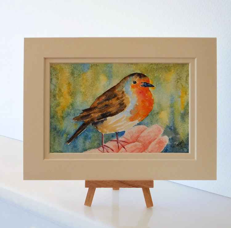 Robin in Hand Watercolour