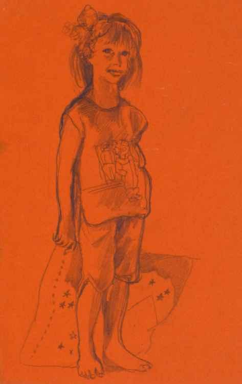 Portrait of a little girl, 16x24 cm -