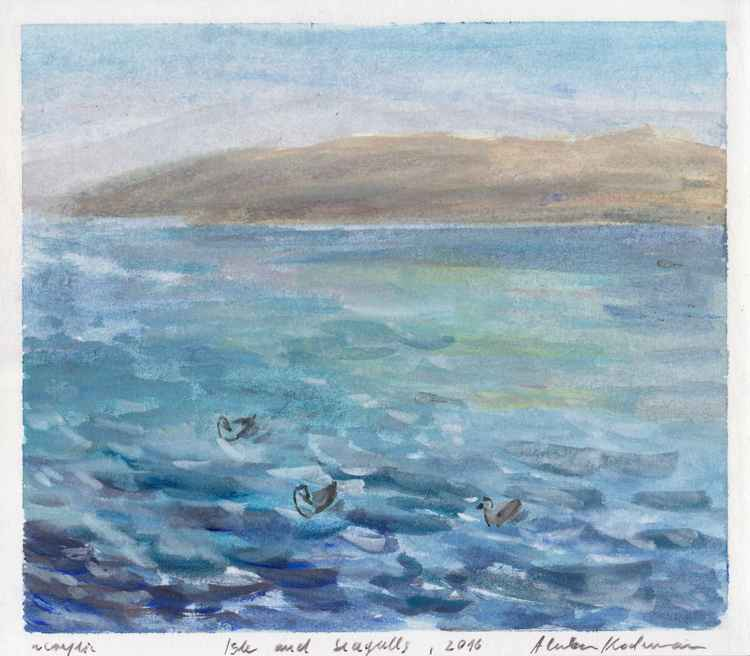 Isle and Seagulls, August 2016, acrylic on paper, 20,9 x 23,8 cm -