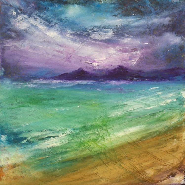 Storm over Kiloran bay, Colonsay, Scottish landscape painting - Image 0