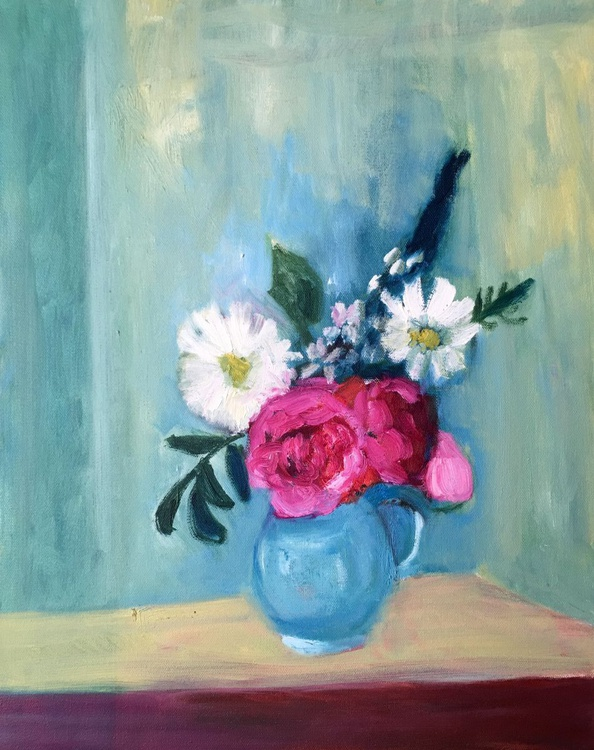 Roses and Daisies, Flowers in a Vase - Image 0