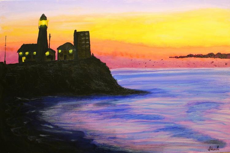 Lighthouse Sunset Ocean - Image 0