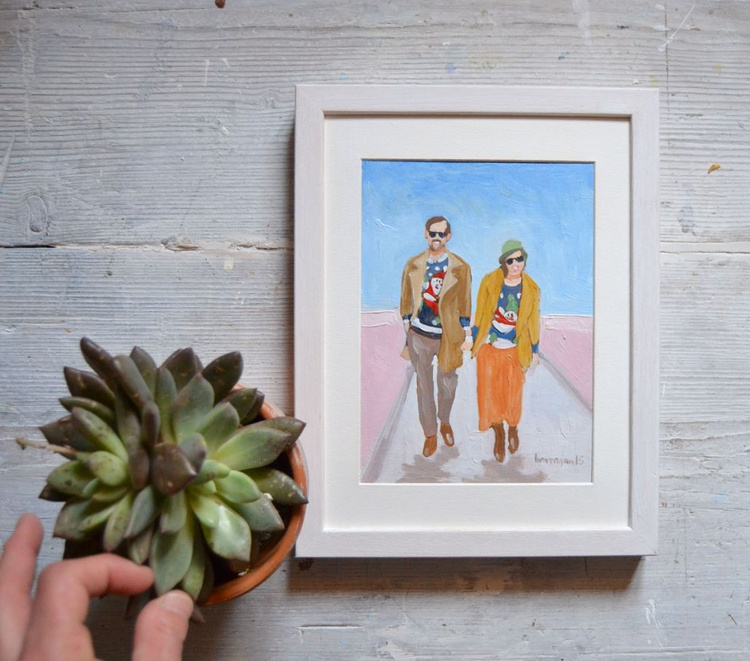 Happy Couple with Tacky Sweaters Portrait Painting - Image 0