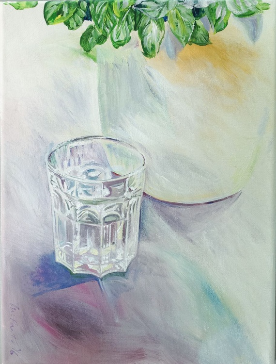 Still life - basil and a glass of water - Image 0
