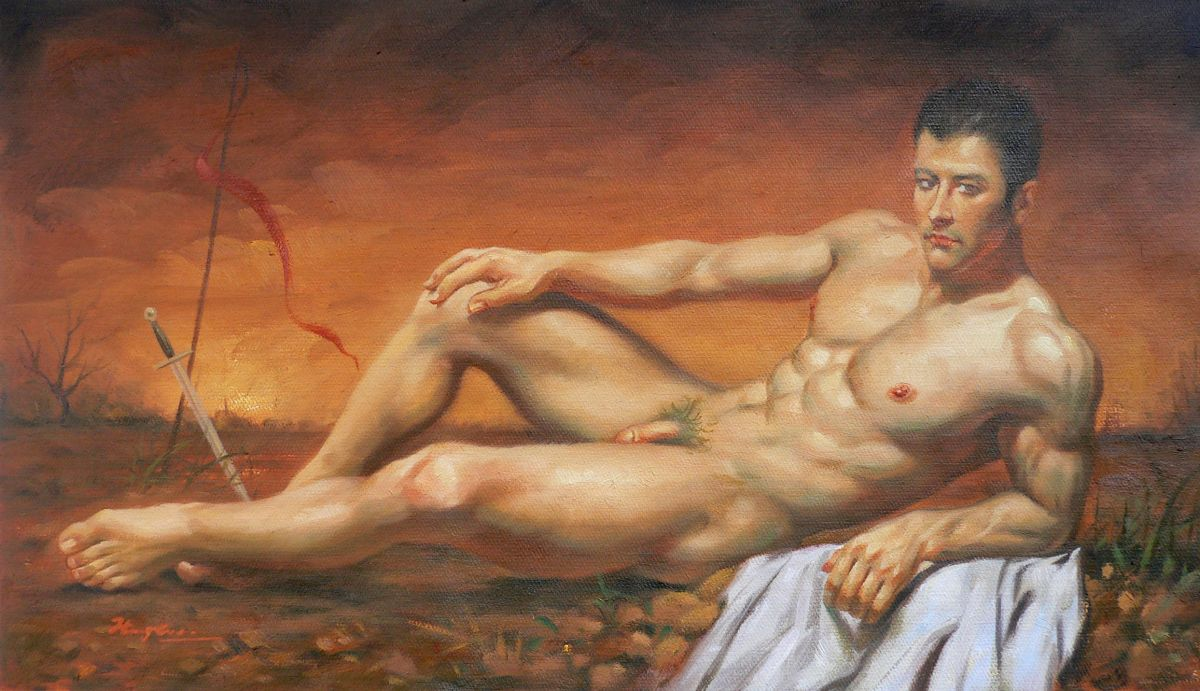 Oil Painting Art Asian Male Nude Man And Sword 16-12-29 -3113