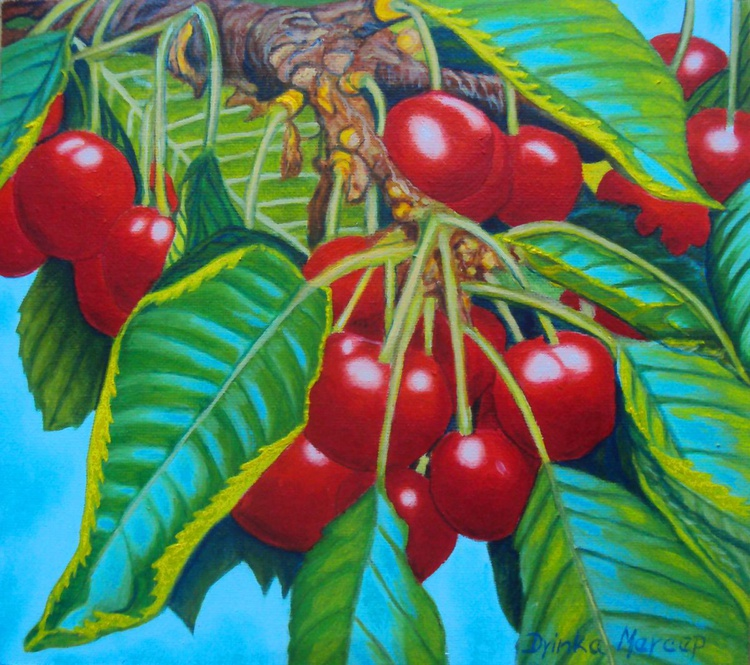 Cherries on a Tree Original Painting Oil on Canvas - No. 2 - Spring Time - Image 0