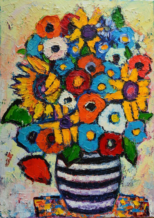ABSTRACT FLORAL - SUNFLOWERS AND COLORFUL POPPIES IN STRIPED VASE - Image 0