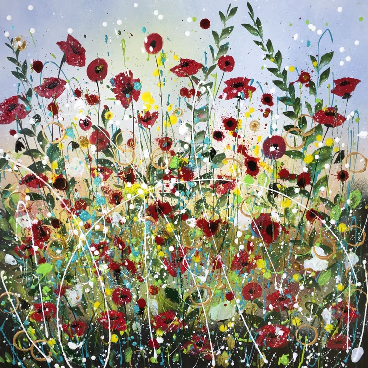 Summer bright poppies, large canvas - Image 0